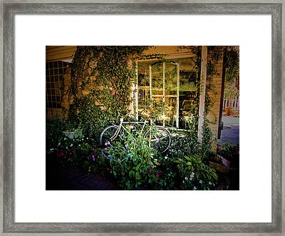 Bicycle In Bloom Framed Print by Rosemary McGahey