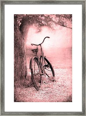 Bicycle In Pink Framed Print by Sophie Vigneault