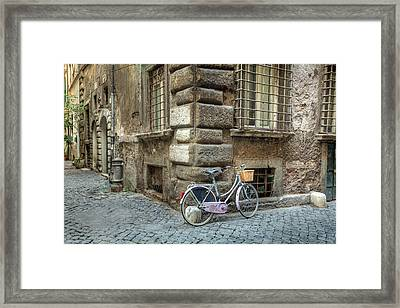 Bicycle In Rome Framed Print by Al Hurley