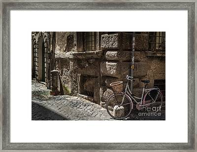 Bicycle In Rome, Italy Framed Print