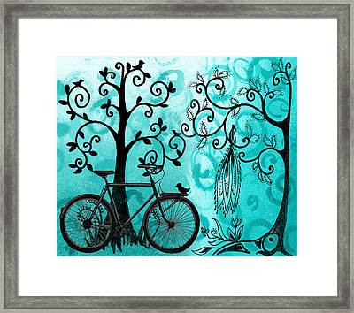 Bicycle In Whimsical Forest Framed Print by Irina Sztukowski