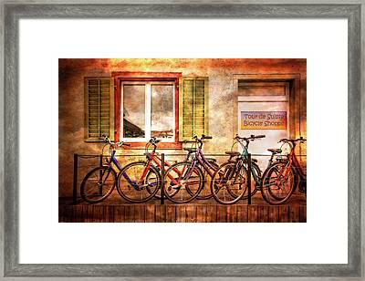 Bicycle Line-up Framed Print by Debra and Dave Vanderlaan