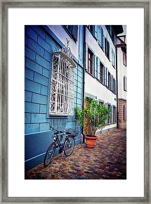 Bicycle On A Cobbled Lane In Basel Switzerland Framed Print