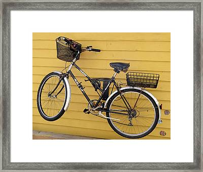Bicycle On A Float House Victoria British Columbia Framed Print by Barbara Snyder