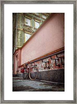 Bicycle On A Quiet Street In Warsaw Poland  Framed Print