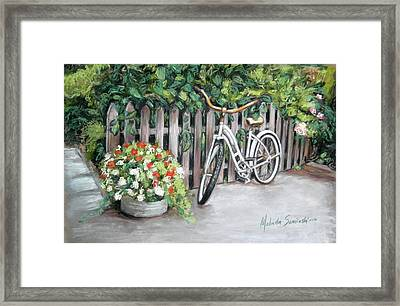 Framed Print featuring the painting Bicycle On Fence by Melinda Saminski