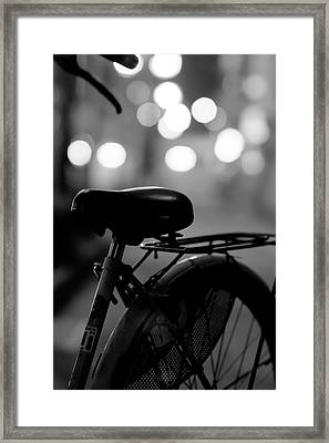 Bicycle On Street At Night In Osaka Japan Framed Print by Freedom Photography