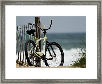 Bicycle On The Beach Framed Print by Julie Niemela