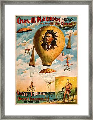 Framed Print featuring the photograph Bicycle Parachute Act 1896 by Padre Art
