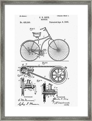 Bicycle Patent 1890 Framed Print by Bill Cannon