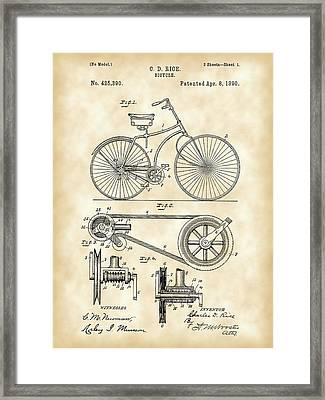 Bicycle Patent 1890 - Vintage Framed Print by Stephen Younts