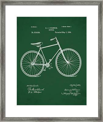 Bicycle Patent 1894 Green Framed Print by Bill Cannon