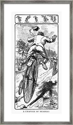 Bicycle Race Accident, 1880 Framed Print