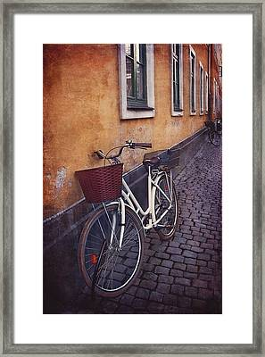 Bicycle With A Basket Framed Print by Carol Japp