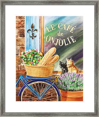 Bicycle With Basket At The Cafe Window Framed Print