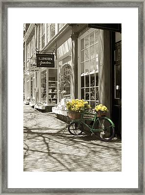 Bicycle With Flowers - Nantucket Framed Print