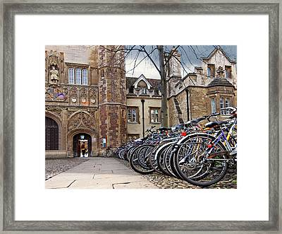 Bicycles At Trinity College Cambridge Framed Print by Gill Billington