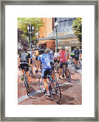 Bicycles On Broadway Framed Print by Mike Hill