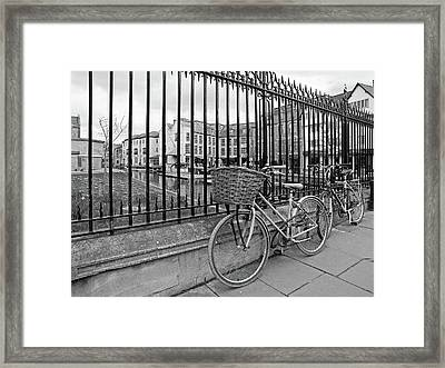 Framed Print featuring the photograph Bicycles On Magdalene Bridge Cambridge In Black And White by Gill Billington