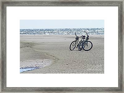 Bicycles On The Beach Framed Print