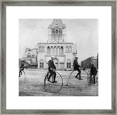 Bicycling, 1880s Framed Print