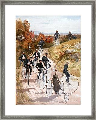 Bicycling, 1887 Framed Print by Granger