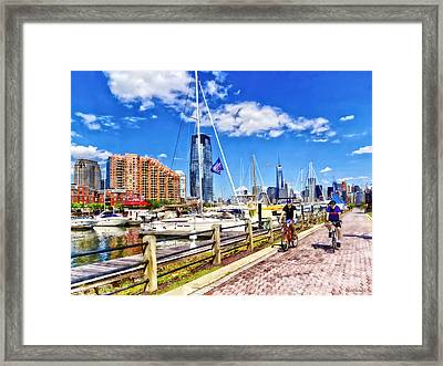 Bicycling Along Liberty Landing Marina Framed Print