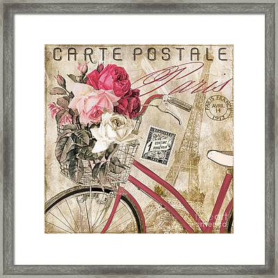 Bicycling In Paris I Framed Print by Mindy Sommers