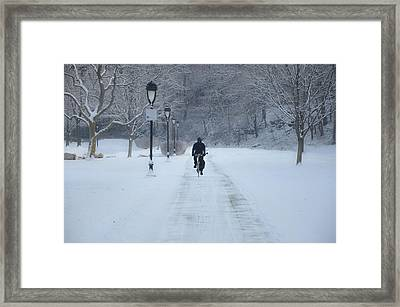 Bicycling In The Snow - Fairmount Park Framed Print by Bill Cannon