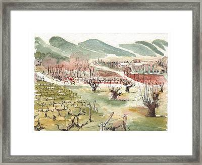 Framed Print featuring the painting Bicycling Through Vineyards by Tilly Strauss