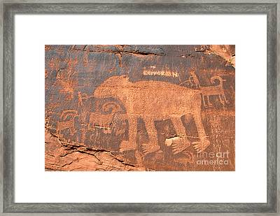 Big Bear Petroglyph Framed Print by David Lee Thompson