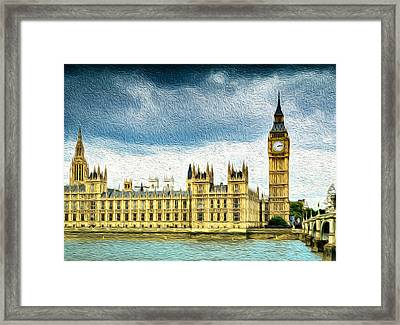 Big Ben And Houses Of Parliament With Thames River Framed Print