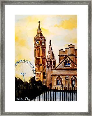 Big Ben And London Eye - Art By Dora Hathazi Mendes Framed Print by Dora Hathazi Mendes