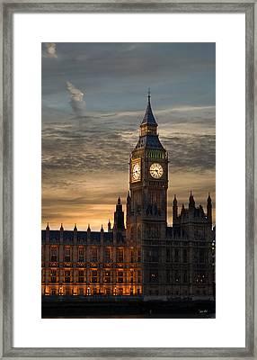 Big Ben At Dusk Framed Print by Martin Howard