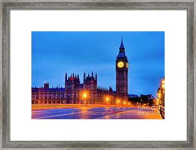 Big Ben At Night Framed Print by Donald Davis