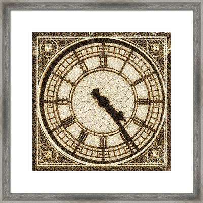 Framed Print featuring the photograph Big Ben Clock Color By Numbers 20161115 Sepia by Wingsdomain Art and Photography