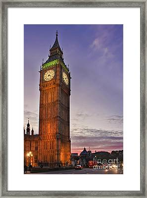 Framed Print featuring the photograph Big Ben Twilight In London by Terri Waters