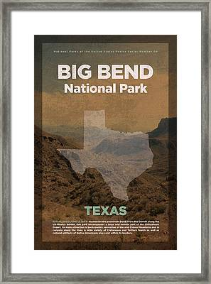 Big Bend National Park In Texas Travel Poster Series Of National Parks Number 04 Framed Print by Design Turnpike