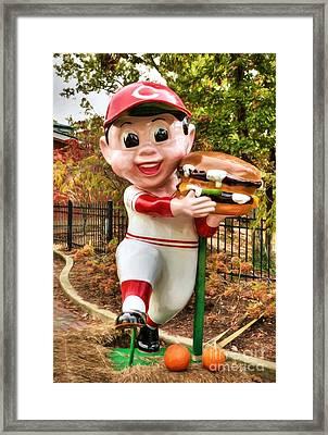 Big Boy Is A Cincinnati Reds Fan Framed Print by Mel Steinhauer