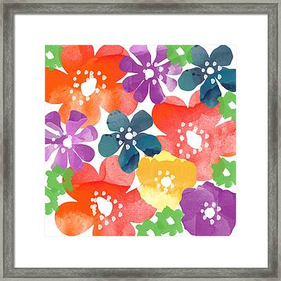 Big Bright Flowers Framed Print by Linda Woods