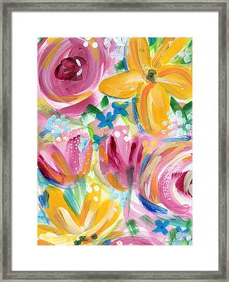 Big Colorful Flowers - Art By Linda Woods Framed Print