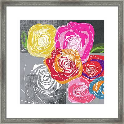 Big Colorful Roses 1- Art By Linda Woods Framed Print