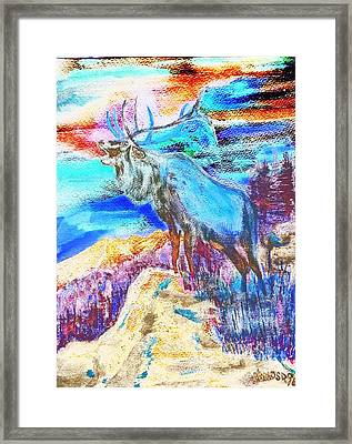 Big Elk Mountain - Colorful Abstract Framed Print