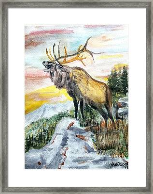 Big Elk Mountain - Original Watercolor Framed Print by Scott D Van Osdol