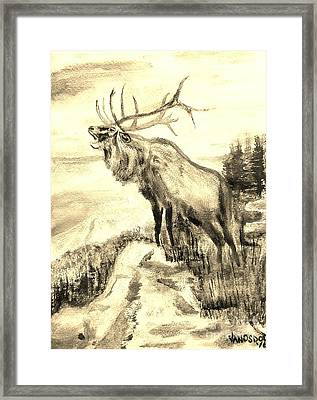 Big Elk Mountain - Sepia Framed Print by Scott D Van Osdol
