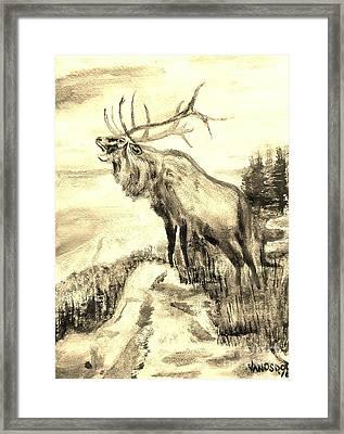 Big Elk Mountain - Sepia Framed Print