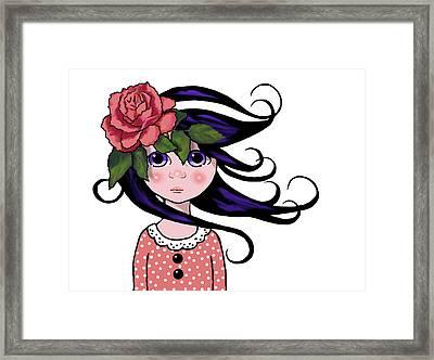 Big Eyed Girl With Rose, Pop Art Framed Print