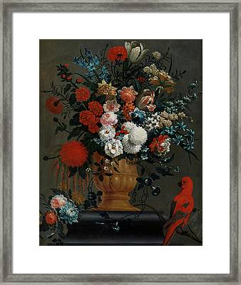 Big Flowers Still Life With Red Parrot Framed Print