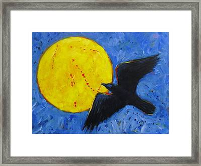 Big Full Moon And Raven Framed Print