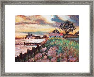 Framed Print featuring the painting Big Lake Bulkhead by AnnE Dentler